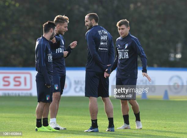 Giorgio Chiellini of Italy looks on during a training session at Centro Tecnico Federale di Coverciano on November 14 2018 in Florence Italy