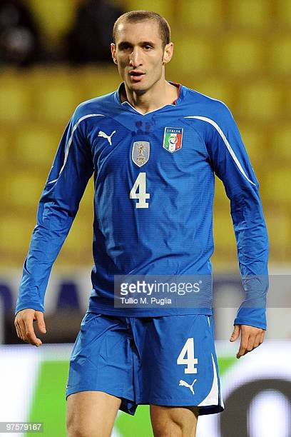 Giorgio Chiellini of Italy looks on during the International Friendly match between Italy and Cameroon at Louis II Stadium on March 3 2010 in Monaco...