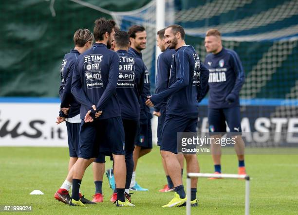 Giorgio Chiellini of Italy looks on during the training session at Italy club's training ground at Coverciano on November 9 2017 in Florence Italy