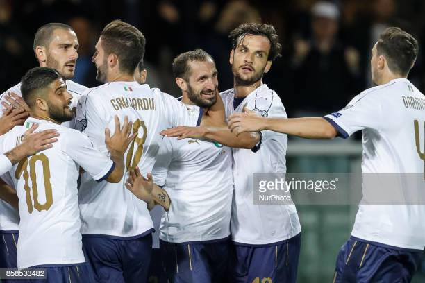 Giorgio Chiellini of Italy national team celebrates his goal with teammates during the 2018 FIFA World Cup Russia qualifier Group G football match...