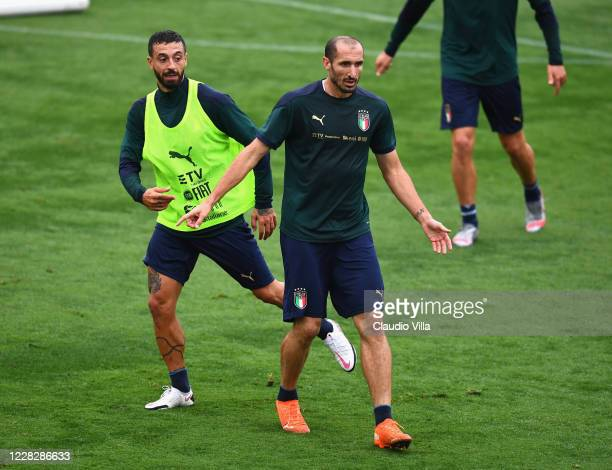 Giorgio Chiellini of Italy reacts during a training session at Centro Tecnico Federale di Coverciano on August 31, 2020 in Florence, Italy.