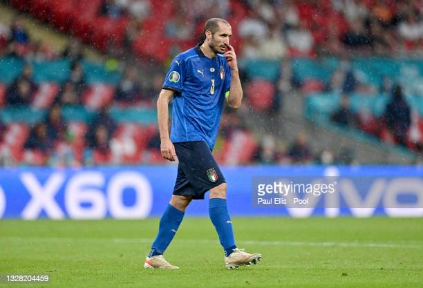 Giorgio Chiellini of Italy reacts during the UEFA Euro 2020 Championship Final between Italy and England at Wembley Stadium on July 11, 2021 in...