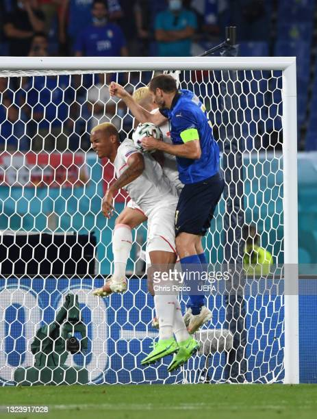 Giorgio Chiellini of Italy scores a goal that is later disallowed by VAR for hand ball during the UEFA Euro 2020 Championship Group A match between...