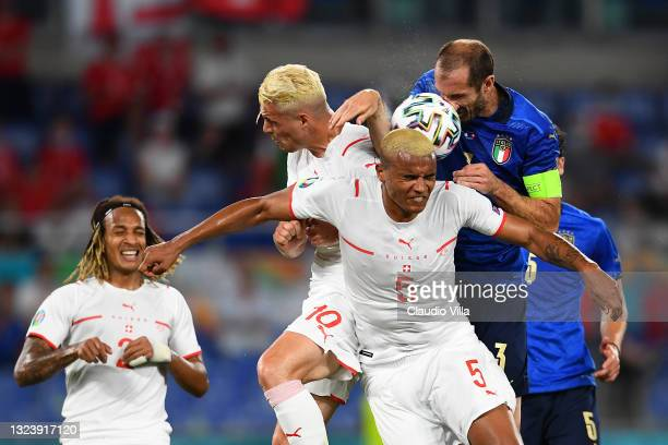 Giorgio Chiellini of Italy scores a goal that is later disallowed by VAR for handball during the UEFA Euro 2020 Championship Group A match between...