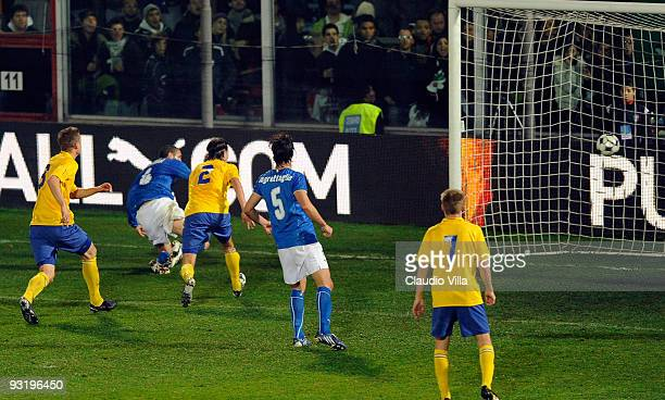 Giorgio Chiellini of Italy scores the opening goal during the international friendly match between Italy and Sweden at Dino Manuzzi Stadium on...