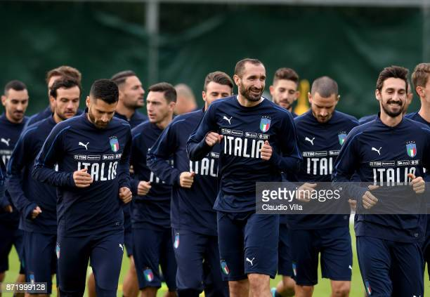 Giorgio Chiellini of Italy smiles during the training session at Italy club's training ground at Coverciano on November 9 2017 in Florence Italy