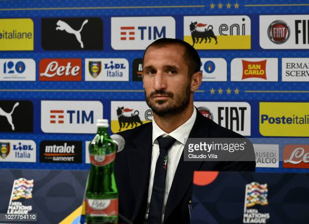 Giorgio Chiellini of Italy speaks with the media during a press conference at Stadio Renato Dall'Ara on September 6 2018 in Bologna Italy