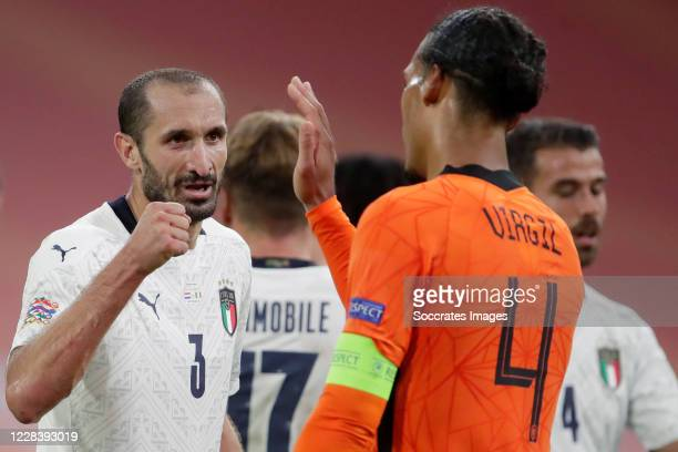 Giorgio Chiellini of Italy, Virgil van Dijk of Holland during the UEFA Nations league match between Holland v Italy on September 7, 2020