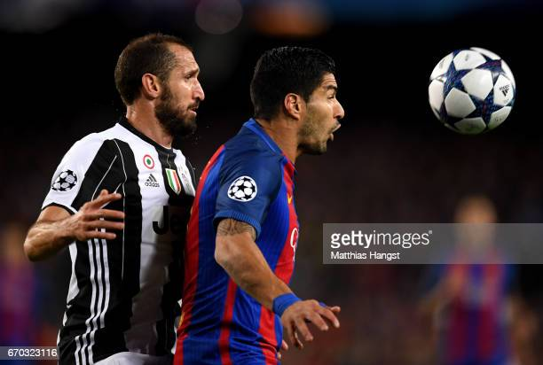 Giorgio Chiellini of Juventus and Luis Suarez of Barelona compete for the ball during the UEFA Champions League Quarter Final second leg match...