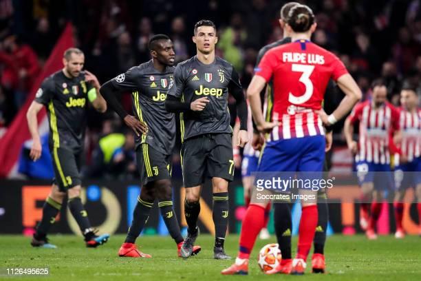 Giorgio Chiellini of Juventus Blaise Matuidi of Juventus Cristiano Ronaldo of Juventus Filipe Luis of Atletico Madrid during the UEFA Champions...