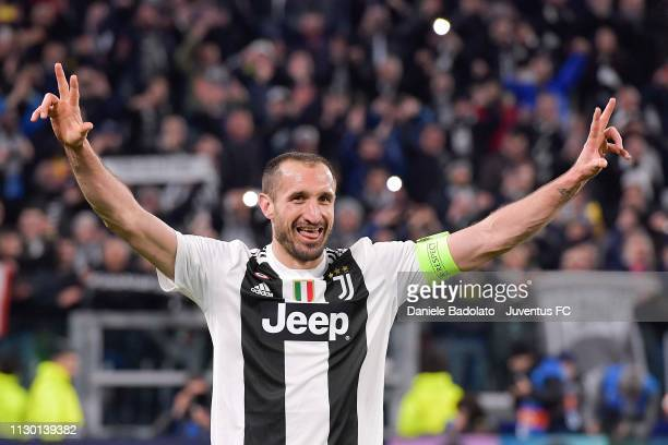 Giorgio Chiellini of Juventus celebrate the victory at the end of the UEFA Champions League Round of 16 Second Leg match between Juventus and Club de...