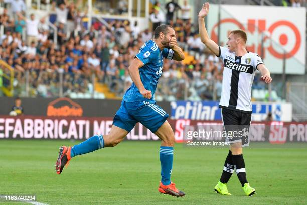 Giorgio Chiellini of Juventus Celebrates 0-1 during the Italian Serie A match between Parma v Juventus at the Stadio Ennio Tardini on August 24, 2019...