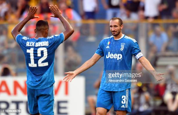 Giorgio Chiellini of Juventus celebrates after scoring the opening goal during the Serie A match between Parma Calcio and Juventus at Stadio Ennio...