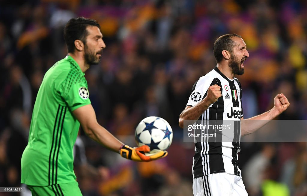 Giorgio Chiellini of Juventus celebrates after the UEFA Champions League Quarter Final second leg match between FC Barcelona and Juventus at Camp Nou on April 19, 2017 in Barcelona, Spain.