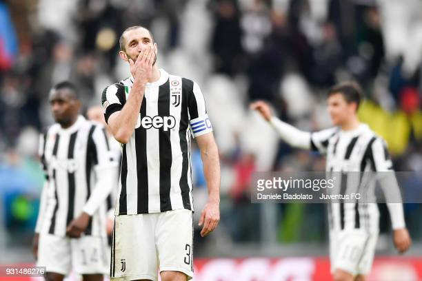 Giorgio Chiellini of Juventus celebrates at the end of the serie A match between Juventus and Udinese Calcio on March 11 2018 in Turin Italy