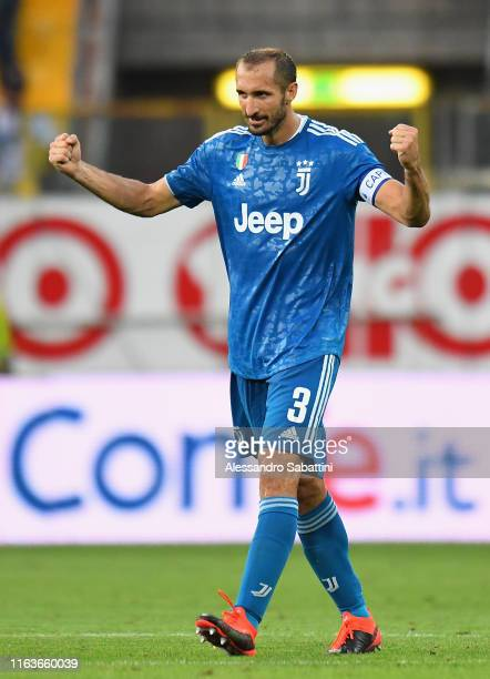 Giorgio Chiellini of Juventus celebrates the victory after the Serie A match between Parma Calcio and Juventus at Stadio Ennio Tardini on August 24,...