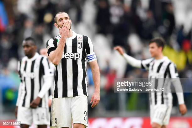 Giorgio Chiellini of Juventus celebrates the victory at the end of the serie A match between Juventus and Udinese Calcio on March 11 2018 in Turin...