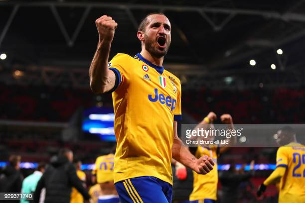 Giorgio Chiellini of Juventus celebrates victory after the UEFA Champions League Round of 16 Second Leg match between Tottenham Hotspur and Juventus...