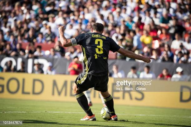 Giorgio Chiellini of Juventus clears the ball during the the International Champions Cup soccer match between Juventus FC and Real Madrid CF at the...