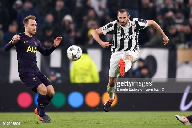 Giorgio Chiellini of Juventus competes for the ball with Christian Eriksen of Tottenham Hotspur FC during the UEFA Champions League Round of 16 First...