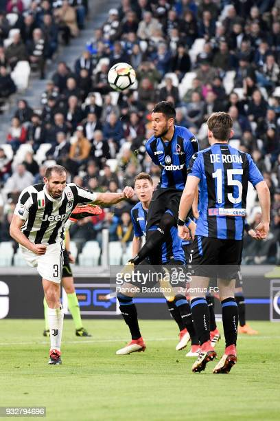 Giorgio Chiellini of Juventus during the serie A match between Juventus and Atalanta BC on March 14 2018 in Turin Italy