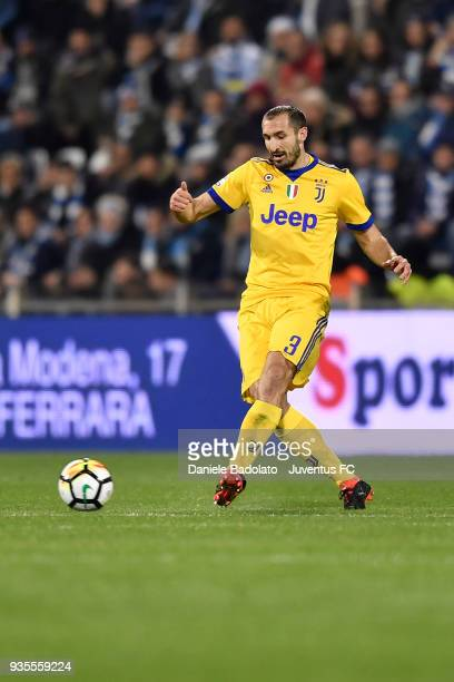 Giorgio Chiellini of Juventus during the serie A match between Spal and Juventus at Stadio Paolo Mazza on March 17 2018 in Ferrara Italy