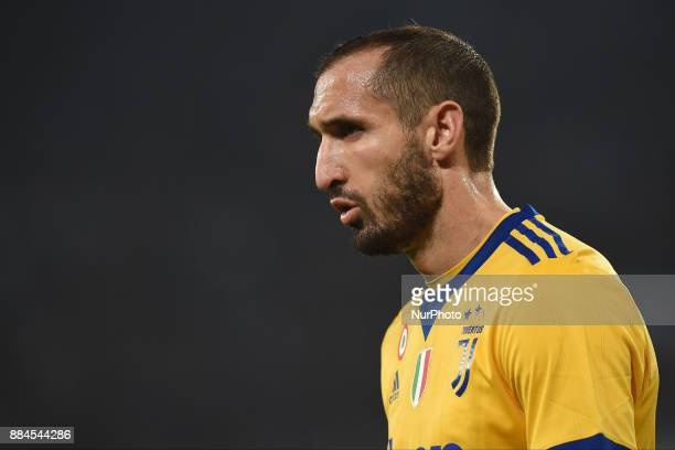Giorgio Chiellini of Juventus during the Serie A TIM match between SSC Napoli and Juventus FC at Stadio San Paolo Naples Italy on 1 December 2017