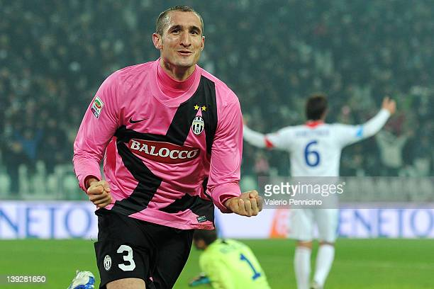 Giorgio Chiellini of Juventus FC celebrates a goal during the Serie A match between Juventus FC and Catania Calcio at Juventus Arena on February 18...