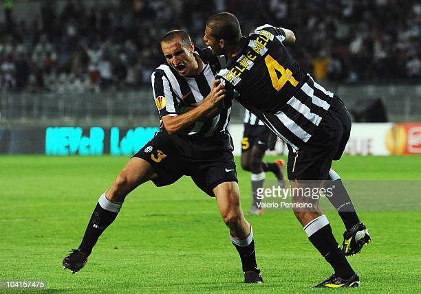 Giorgio Chiellini of Juventus FC celebrates his goal with Felipe Melo during the Uefa Europa League group A match Juventus FC and KKS Lech Poznan at...