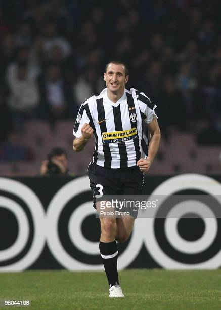Giorgio Chiellini of Juventus FC celebrates scoring the opening goal during the Serie A match between SSC Napoli and Juventus FC at Stadio San Paolo...