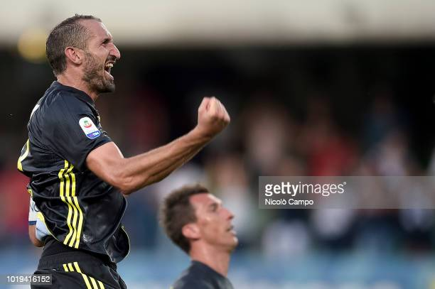 Giorgio Chiellini of Juventus FC celebrates the victory at the end of the Serie A football match between AC ChievoVerona and Juventus FC Juventus FC...