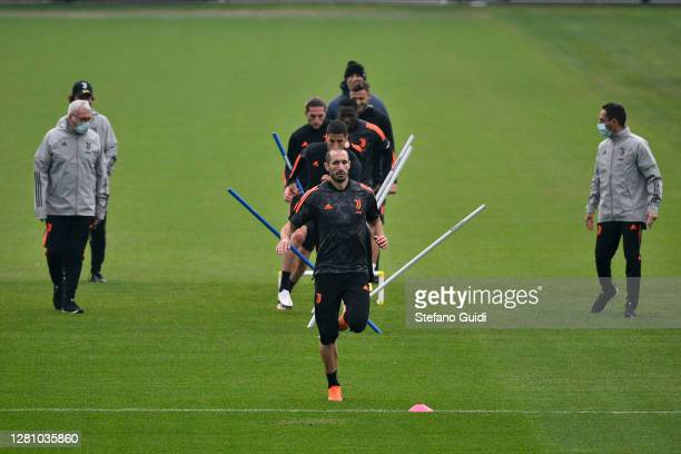 Giorgio Chiellini of Juventus FC during a Juventus training session at JTC on October 19 2020 in Turin Italy