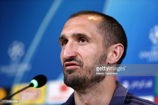 Giorgio Chiellini of Juventus FC during press conference on the eve of the UEFA Champions League football match between Juventus Fc and Club Atletico...