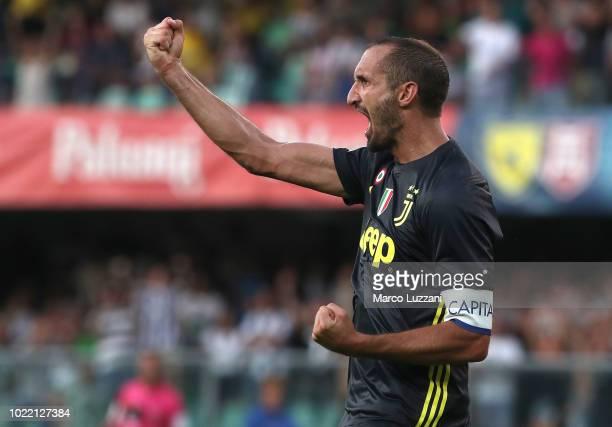 Giorgio Chiellini of Juventus FC gestures during the Serie A match between Chievo Verona and Juventus at Stadio Marc'Antonio Bentegodi on August 18...