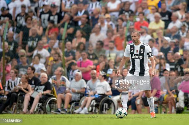 Giorgio Chiellini of Juventus FC in action during the preseason friendly match between Juventus FC and Juventus U19 Juventus FC won 50 over Juventus...