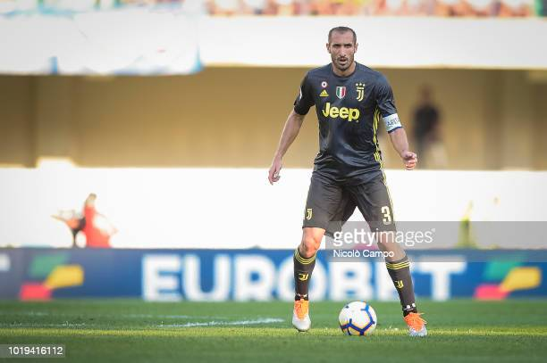 Giorgio Chiellini of Juventus FC in action during the Serie A football match between AC ChievoVerona and Juventus FC Juventus FC won 32 over AC...