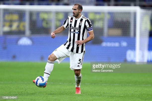 Giorgio Chiellini of Juventus Fc in action during the Serie A match between Fc Internazionale and Juventus Fc. The match ends in a tie 1-1.
