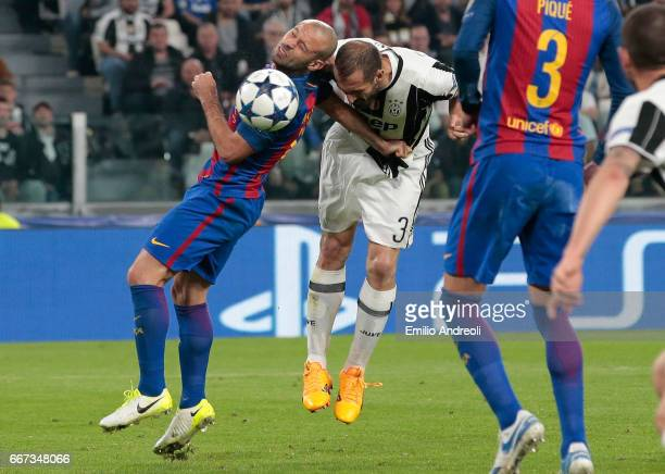 Giorgio Chiellini of Juventus FC scores his goal during the UEFA Champions League Quarter Final first leg match between Juventus and FC Barcelona at...