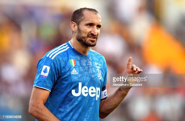 Giorgio Chiellini of Juventus gestures during the Serie A match between Parma Calcio and Juventus at Stadio Ennio Tardini on August 24, 2019 in...