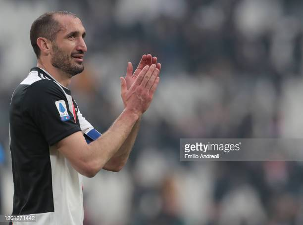 Giorgio Chiellini of Juventus greets the fans at the end of the Serie A match between Juventus and Brescia Calcio at Allianz Stadium on February 16,...