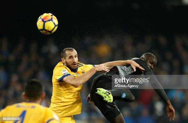 Giorgio Chiellini of Juventus in action against Kalidou Koulibaly of SSC Napoli during the Serie A football match between SSC Napoli and FC Juventus...