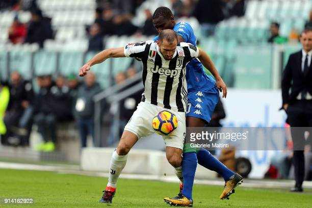 Giorgio Chiellini of Juventus in action against Khouma Babacar of US Sassuolo during the serie A match between Juventus and US Sassuolo on February 4...