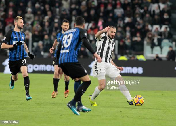 Giorgio Chiellini of Juventus in action during the Italian Serie A football match Juventus and Inter on December 9 2017 at the Allianz stadium in...
