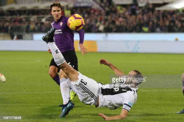 Giorgio Chiellini of Juventus in action during the Serie A match between ACF Fiorentina and Juventus at Stadio Artemio Franchi on December 1 2018 in...