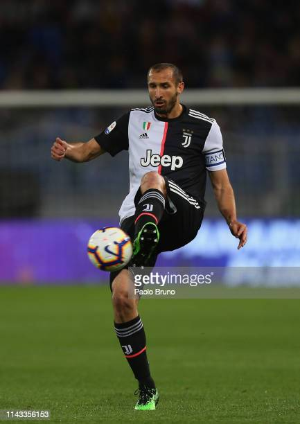 Giorgio Chiellini of Juventus in action during the Serie A match between AS Roma and Juventus at Stadio Olimpico on May 12, 2019 in Rome, Italy.