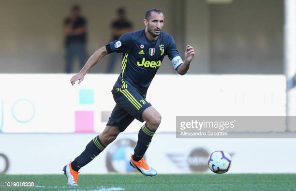 Giorgio Chiellini of Juventus in action during the serie A match between Chievo Verona and Juventus at Stadio Marc'Antonio Bentegodi on August 18...