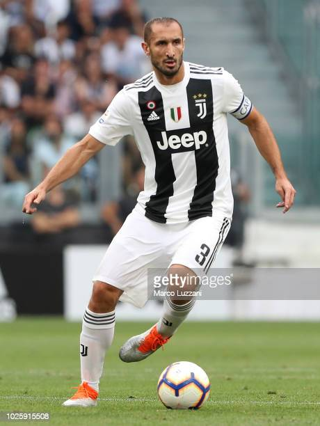 Giorgio Chiellini of Juventus in action during the Serie A match between Juventus and SS Lazio at Allianz Stadium on August 25 2018 in Turin Italy