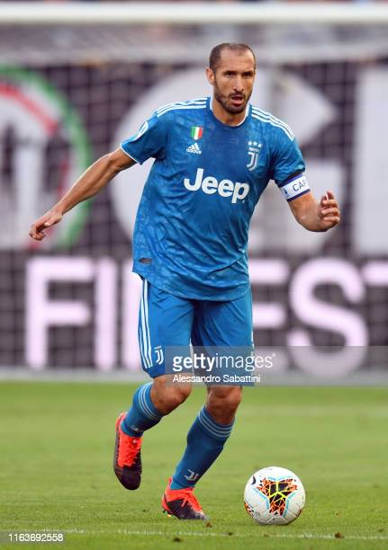Giorgio Chiellini of Juventus in action during the Serie A match between Parma Calcio and Juventus at Stadio Ennio Tardini on August 24, 2019 in...