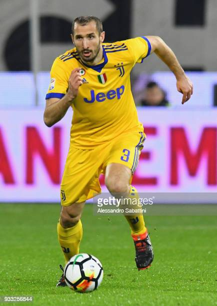 Giorgio Chiellini of Juventus in action during the serie A match between Spal and Juventus at Stadio Paolo Mazza on March 17 2018 in Ferrara Italy