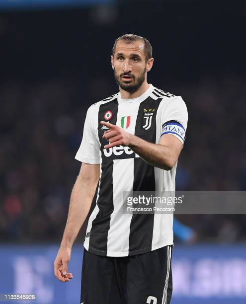 Giorgio Chiellini of Juventus in action during the Serie A match between SSC Napoli and Juventus at Stadio San Paolo on March 3, 2019 in Naples,...